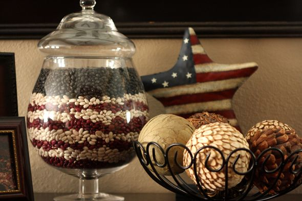 4th of July decor idea with apothecary jars.  Red Kidney beans, Northern Beans and Black beans.