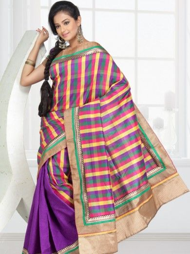 Jailakshmi Sarees is one of the leading manufacturers and exporters of raw silk check with half half ghicha silk with attached tissue uppada border pallu 52 that are available in a variety of attractive designs and are reasonably priced.