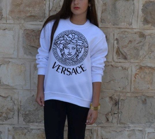 versace sweatshirt long sleeve shirt sweater versace medusa inspired logo in white gray women. Black Bedroom Furniture Sets. Home Design Ideas