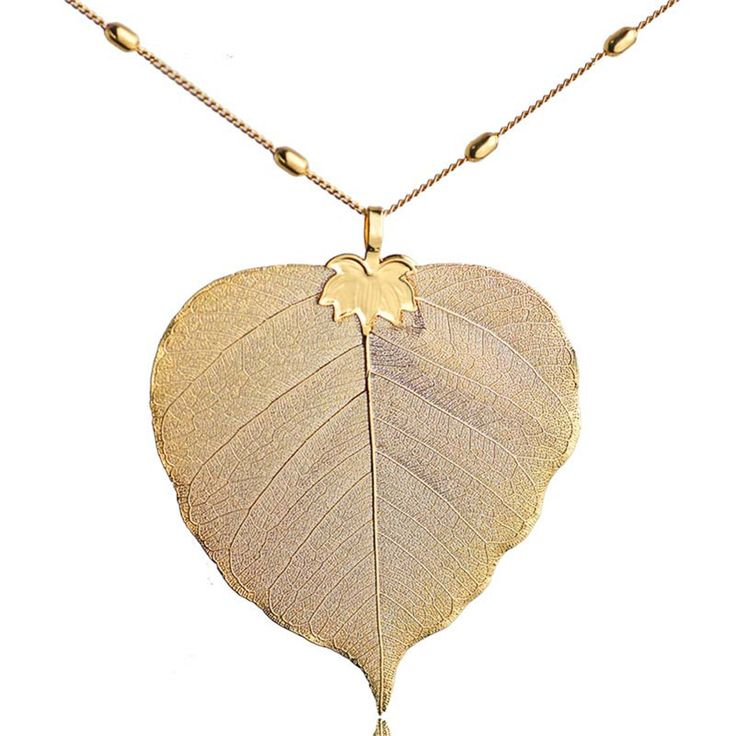Bodhi Leaf Pendant Necklace Gold Plated Natural Leaves Bohemian Jewelry Fashion Cloth Accessories 2017 Spring Arrival