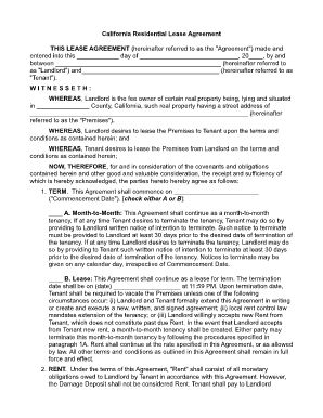 california rental agreement form