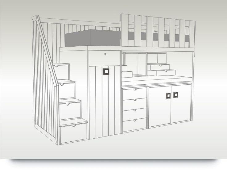 10 best camarote escritorio images on pinterest bunk for Camarote con escritorio