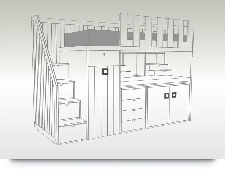 Litera de una cama con escalones con armario escritorio - Litera con escritorio debajo ...