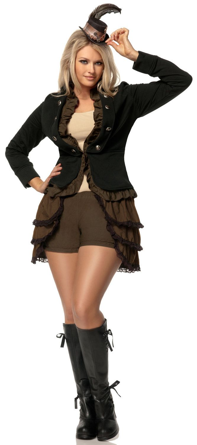 Steampunk Lady Historical Plus Size Costume.    This outfit is so awesome!!  The hat has to go, but I love everything else!!  Really nice outfit!!  I'd wear it!