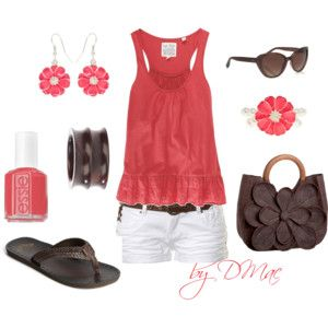 Coral, White, & Brown...cute for summer!
