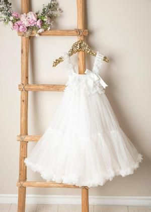 Kryssi Kouture Exclusive Girls White Ivory Spencer Tulle Twirl Dress – Ruffles & Bowties Bowtique