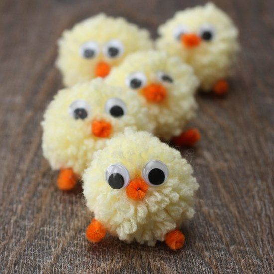 Adorable and kid friendly craft!  These pom pom Easter chicks are too cute not to make!