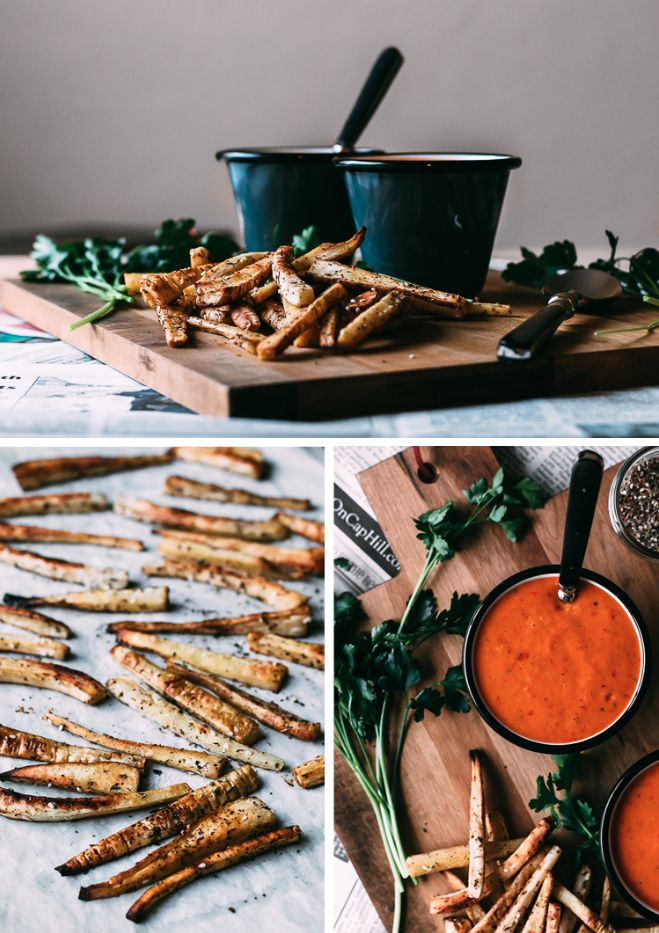 Harissa Tomato Soup + Za'atar Roasted Parsnip Fries | Faring Well | # ...