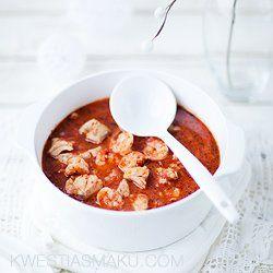 Zupa rybna pomidorowa z krewetkami i dorszem | Kwestia Smaku
