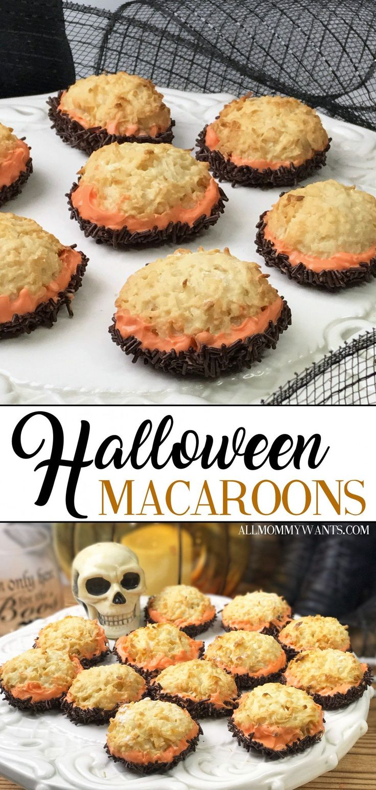 These Halloween macaroons are INCREDIBLY easy to make! Coconut, sprinkles, and chocolate make the perfect combo... via @mommywant