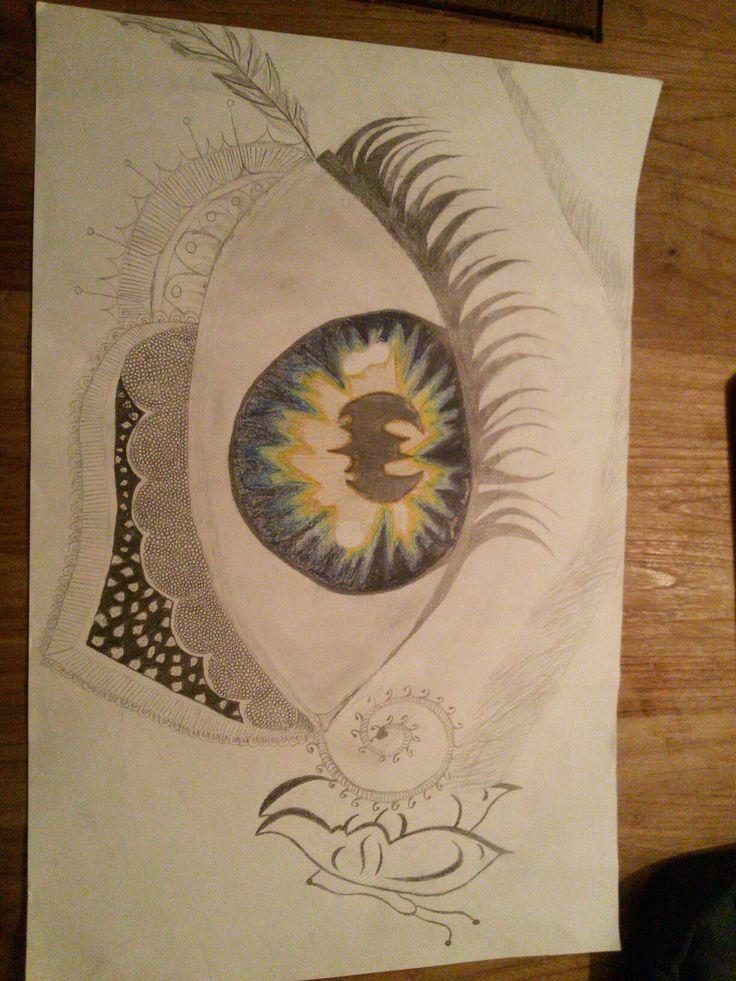 Dit is het eind resultaat van mijn oog het moeilijk van dit ook tekenen was toch wel het pupil en het oog inkleuren de rest ging voor mijn gevoel wel redelijk en natuurlijk heb ik Hulp gehad als ik het overnieuw zou kunnen doen zou ik het oog zelf opnieuw willen doen ik weet niet waarom maar ik zelf vind hem niet zo mooi maar ben er wel tevreden mee en hoop een goed/hoog cijfer mee te halen ik ben trots op de vlinder, de wenkbrauw en het ingekleurde oog.