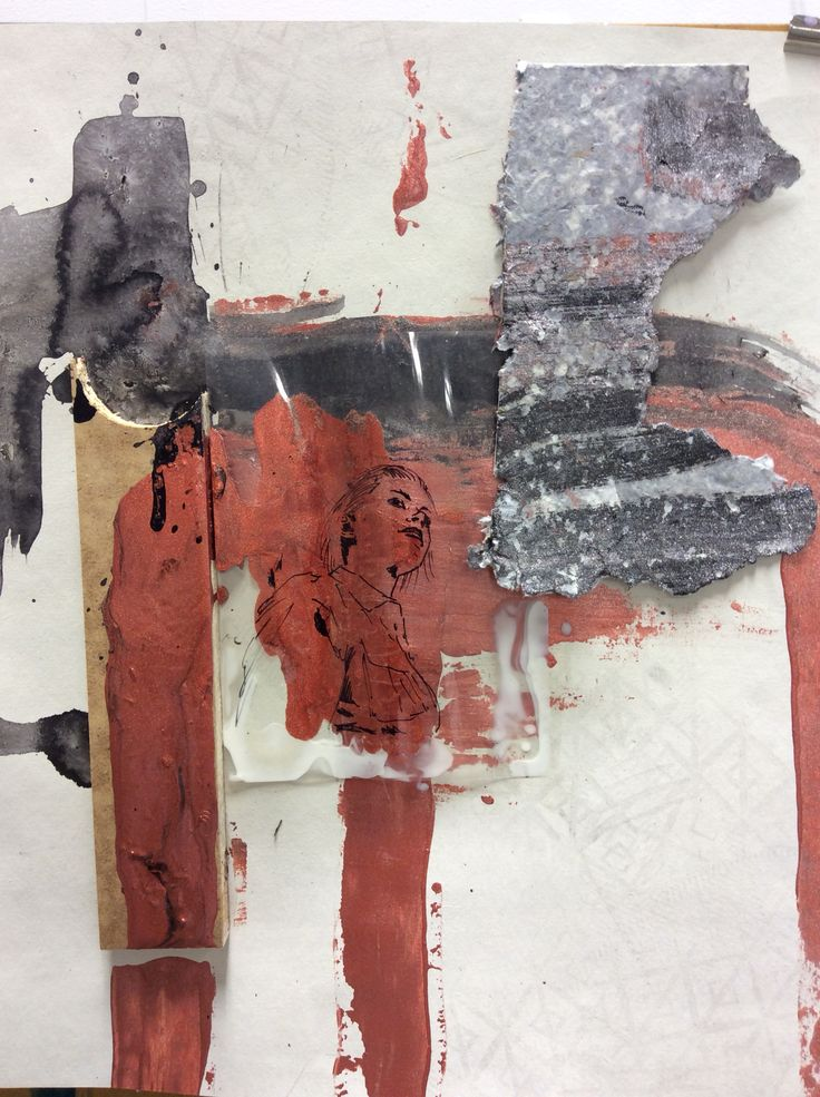 Session 8 mixed mead collage  Ink metallic paint acrylic wood acetate on paper