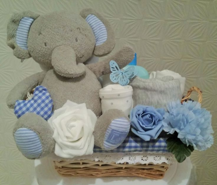 41 best my home made baby gifts nappy cakes baby hampers clothes deluxe baby boy elephantclothes gift baskethamper blue gingham baby shower by clickmelsbabygifts negle Images