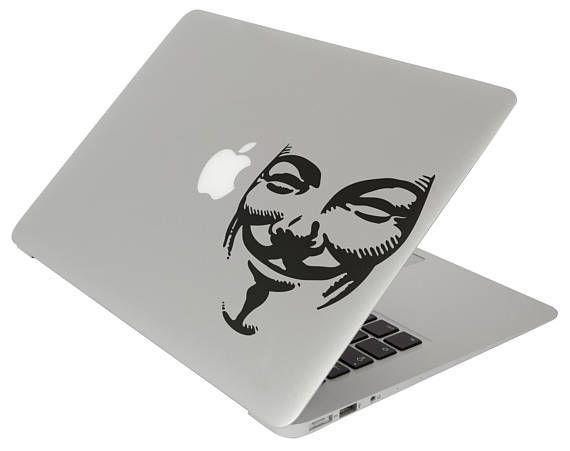 Anonymous Mask Decal Sticker for Apple Macbook and other Laptops | Laptop Skin | Hacker Group | Guy Fawkes by BrutalVisual    4.90 EUR  Did you knew that the Anonymous mask is based on Guy Fawkes? So... how the Guy Fawkes mask became an icon of the protest movement? For a faceless hacking collective Anonymous has a distinctive signature mask... a curling black eyebrows and mustachios sit on a smiling white face which is styled after Guy Fawkes one of the ringleaders of the Gunpowder Plot…