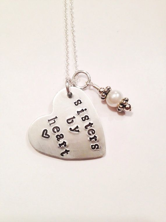 Hand stamped Sisters By Heart. Sister birthday. Sister gift. Sister in law gift, brides maid maid of honor gift