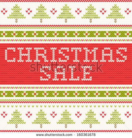 Christmas Sale - northern style knitted pattern - stock vector. Knitting ornaments.