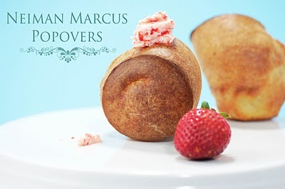 I remember going to Neiman Marcus in San Francisco with my mom, friends (anyone who was game) and loving The Rotunda restaurant.  The popovers with the strawberry butter.  Here's the recipe - I'm going to make them this weekend!