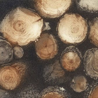 The Wood Pile etching by Chrissy Norman UK printmaker