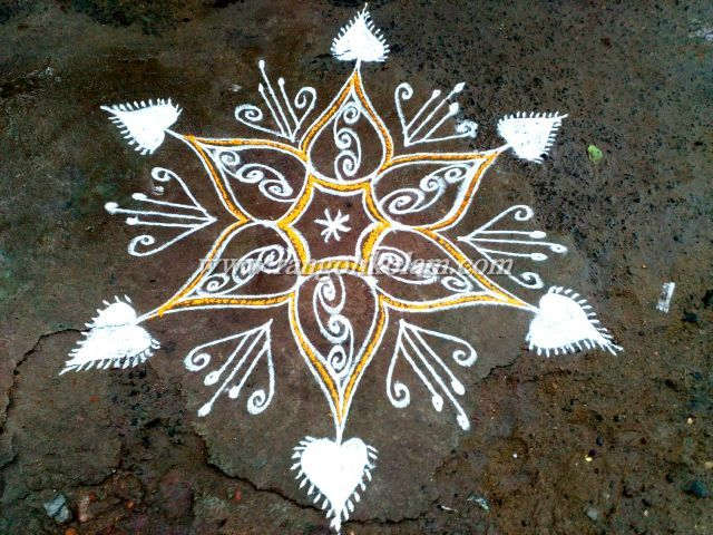 Simple morning kolam in freehand design