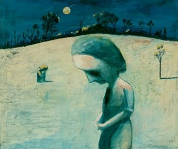 Charles Blackman. Weeping Girls in Night Landscape.