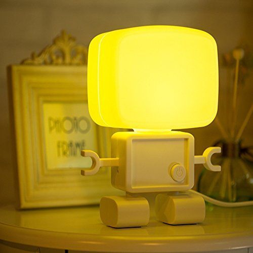 Anpress Intelligent Cute Robot Night Table Lamp Dual Sound and Llight Control LED Small Night Light USB Rechargable Desk Lamp for Bedroom, Bathroom and Baby Room (Warm Yellow) ** You can get additional details at the image link.