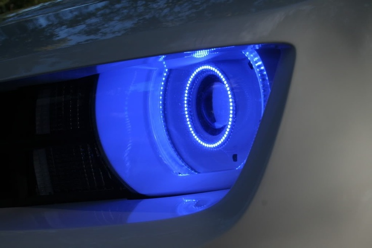 I want these headlights in my Camaro.... Blue halos with blue demon eyes