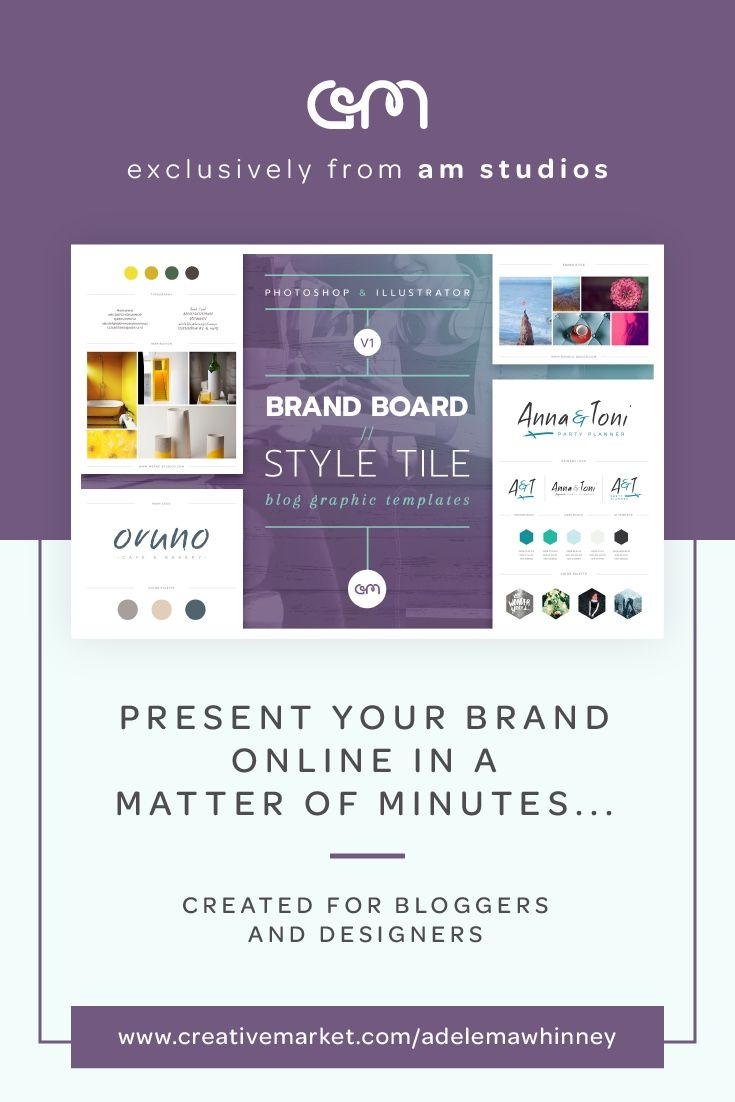 10 easy to edit, fully customisable Brand Board / Style Tile templates, created in both Photoshop & Illustrator and optimised for use in Blog Posts, Pinterest or print