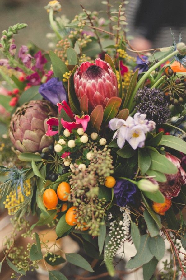 Protea-Kumquat-Eucalyptus-Lisianthus-Wedding-Flowers