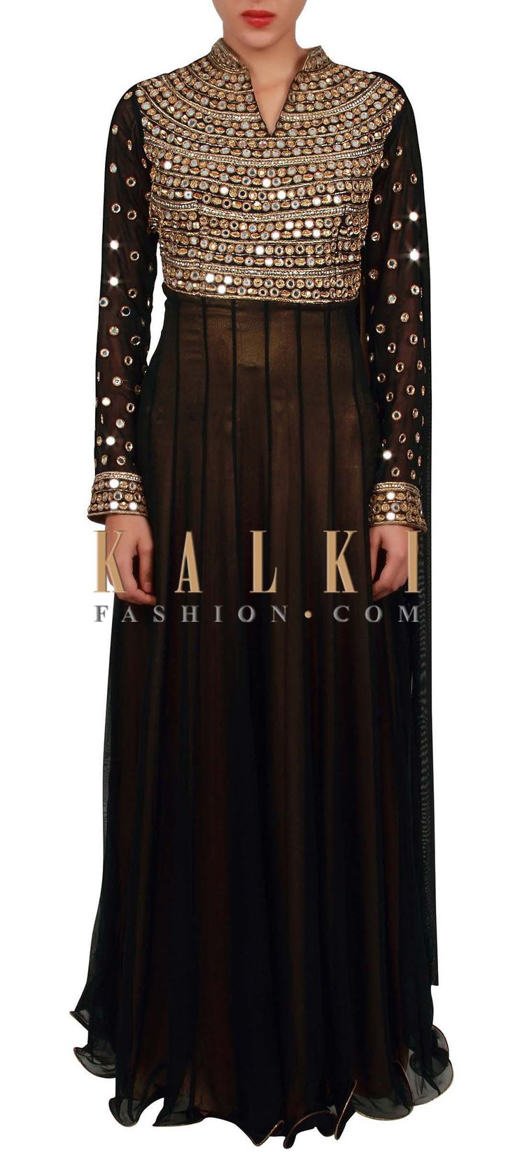 Buy Online from the link below. We ship worldwide (Free Shipping over US$100) http://www.kalkifashion.com/black-saree-gown-embellished-in-mirror-embroidery-only-on-kalki.html