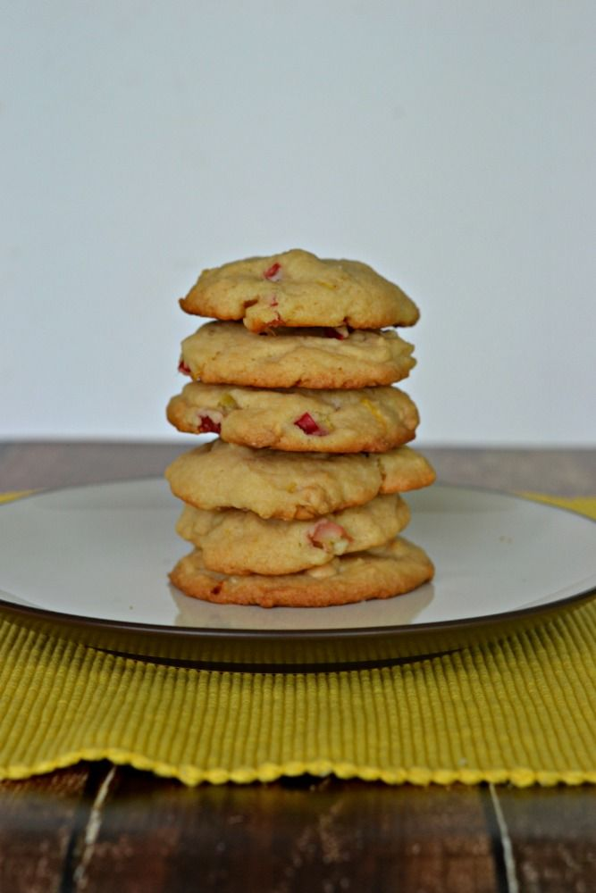 Lemon Rhubarb Cookies are sweet, tart, and bursting with flavor.