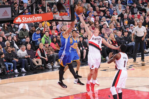 Meyers Leonard of the Portland Trail Blazers shoots the ball against the Golden State Warriors on January 29 2017 at the Moda Center in Portland...