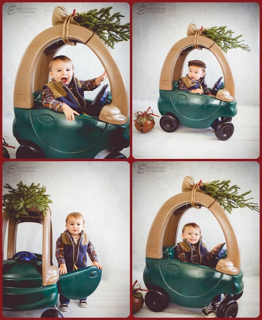 "Turn a Little Tykes car into a ""Christmas tree on a car"" prop for the perfect holiday photo shoot. So cute!"