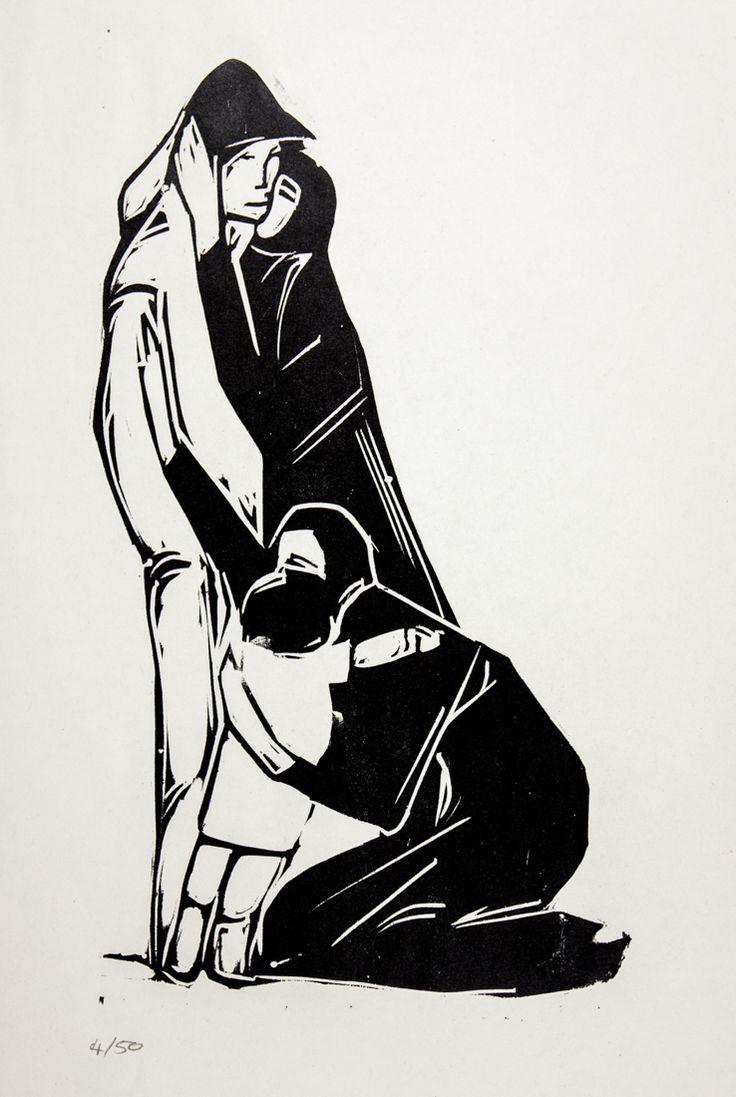 """Cartella edit. mm 505x355 contenente 8 xilografie originali di Lorenzo Viani:  """"Il reduce"""" . Ognuna numerata a matita 4/50 e con al retro certificato di garanzia. Edita in occasione della mostra """"Viani intimo"""" 28 agosto-18 settembre 1961."""