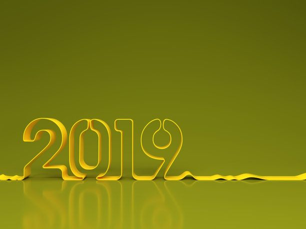 green new year 2019 ribbon style background wallpaper