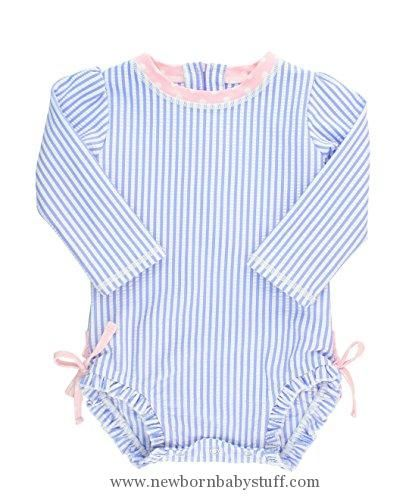 c6d38944c Baby Girl Clothes RuffleButts Infant/Toddler Girls Long Sleeve UPF 50+ One  Piece Rash Guard Swimsuit - Periwinkle Blue Seersucker - 3-6m