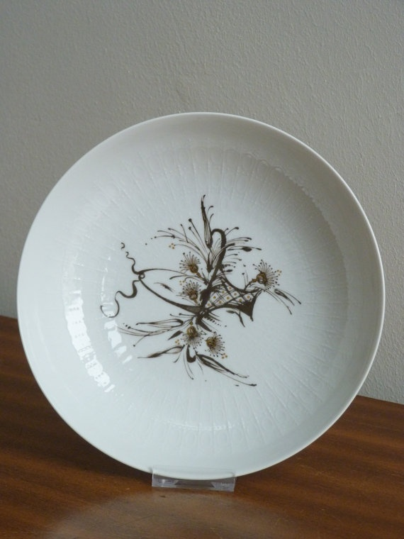 Retro Vintage Rosenthal China Dish - Brown & gold floral abstract pattern    On ETSY  http://etsy.me/Y9vpj3