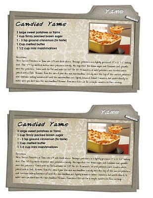 Printable Thanksgiving Candied Yams Recipe Card