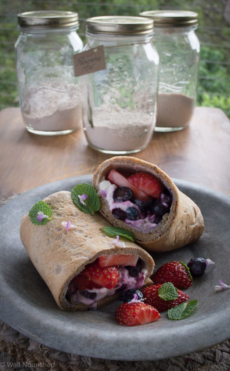 Shake and Go Pancakes - one of my kids favourite recipes.  They can make these themselves (as easy as the supermarket, processed variety). Wheat free, dairy free and variations for gluten free, grain free, egg free, vegan, low fructose and savoury too.  Fill the savoury ones with my Mushrooms and More recipe for a very french, simple lunch.  Also great for after school.