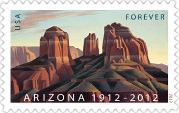 "With the issuance of this stamp, the U.S. Postal Service commemorates the 100th anniversary of Arizona's statehood. One of America's last frontiers, Arizona became the 48th state in the Union on February 14, 1912.    The ""Grand Canyon State,"" home to 21 Native American tribes with ancient connections to the land, is known for its stunning beauty and abundant natural resources. The stamp art celebrates this beauty with an original painting of Cathedral Rock."