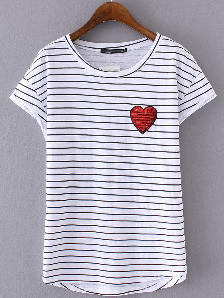 Shop Black White Stripe Sequined Heart Short Sleeve T-shirt online. SheIn offers Black White Stripe Sequined Heart Short Sleeve T-shirt & more to fit your fashionable needs.