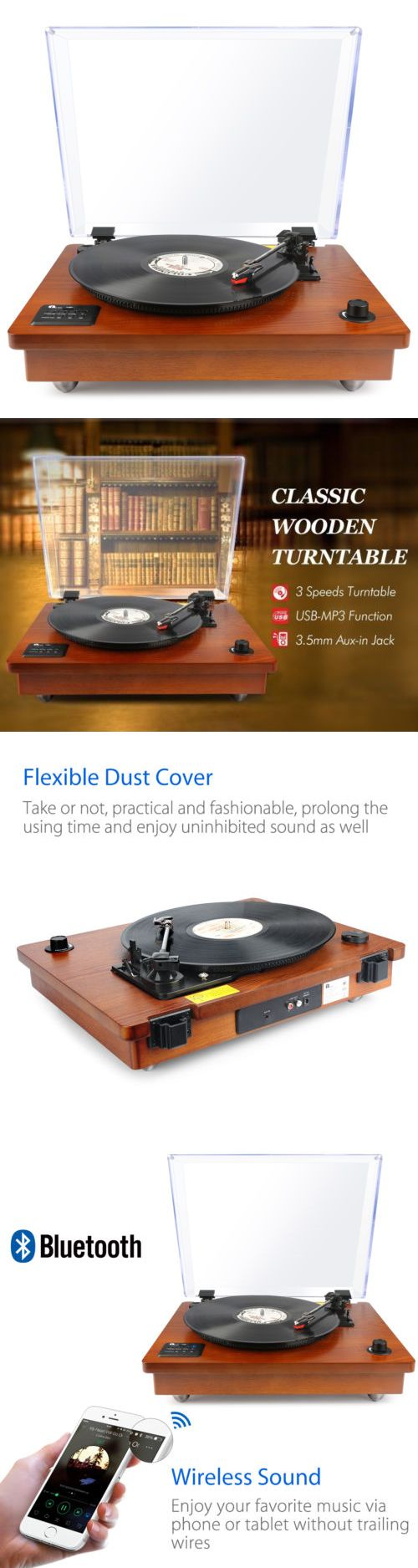 Record Players Home Turntables: Bluetooth Usb Turntable Vintage Record Player Vinyl-To Mp3 Nature Wood, Brown -> BUY IT NOW ONLY: $103.99 on eBay!