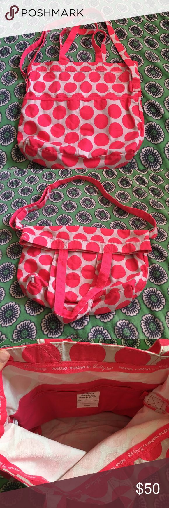 """NEW Thirty one Fold Over Retro Metro Bag Brand new! Never used! Kept inside the plastic bag it came in. Cotton fabric, can wear as a crossbody or a shoulder bag. 2 exterior pockets, 1 interior pocket. Approx 16""""h x 19""""L at top x 14"""" L at bottom x 4.5""""D color is Coral Mod Dots thirty one gifts Bags Totes"""