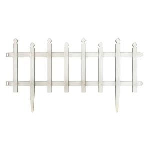 Vigoro 12 in. H White Classic Picket Style Plastic Garden Fence 51502 at The Home Depot - Mobile