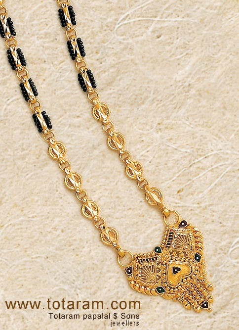22K Gold Mangalsutra Black Beeds Chain with Pendant