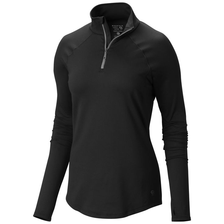 Mountain Hardwear Butter Zippity - Women's Black/Graphite X-Small. Wicking, fast drying, stretch fabric. Antimicrobial treatment protects this product from bacterial growth. Thumb loops keep hands warm. Flat-lock seam construction eliminates chafe. Weight: 7.1oz / 200g.