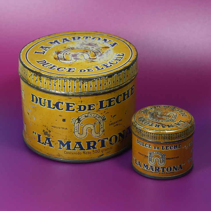 Latas de dulce de leche La Martona. Probablemente década del '30 o '40.
