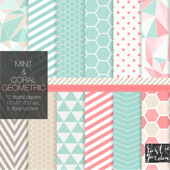 Mint coral and sand digital paper pack. by RusticDigitalPaper, $4.20