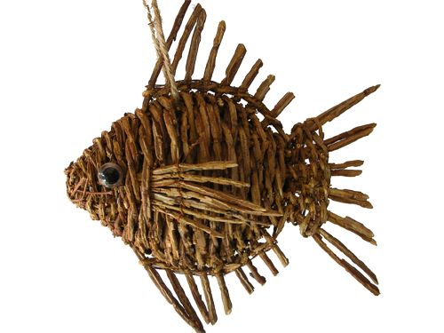 "Fish ornaments | ... , Butterflies & Fish :: 7.5"" Rattan Weave Fish Ornament *** SALE"