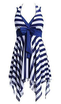 Catkit White Blue Stripe Halter One-piece Swimwear Plus Size Bathing Suit Dress, http://www.amazon.com/dp/B00ZR291BA/ref=cm_sw_r_pi_awdm_t-qYwb0HH3W1X