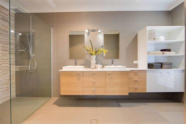 Stylish elegant double ensuite design. The Fernbank 263 is on display at #GJPortMacquarie. #GJNSW. Download PDF brochure & floorplan: http://www.gjgardner.com.au/data/displays/397_14.pdf